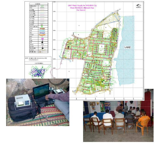 Water Transmission Mains, Distribution System mapping and consumer indexing survey for 24X7 Water Supply Scheme for Madurai City Corporation.
